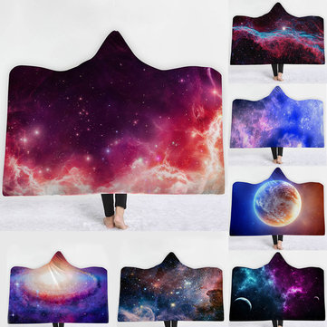 Winter Galaxy Star Plush Wearable Hooded Blankets Throw Dual Layer 3D Printing