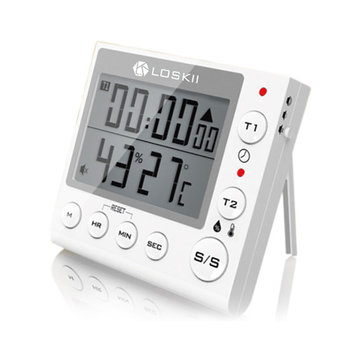 Loskii KC-70 Digital Multifunctional Dual Modes Thermometer Hygrometer Alarm Clock Kitchen Timer with LCD Display
