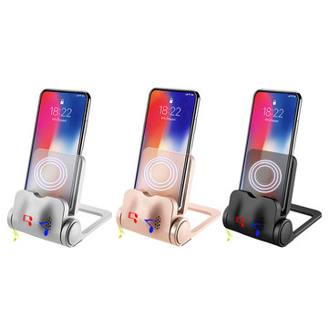 4 In 1 10W Wireless Charger 360º Rotation Stand Holder With Speaker For iPhone/Samsung/Xiaomi/Huawei
