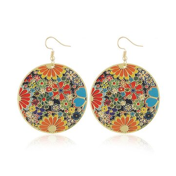 Retro Style Round Flower Earrings Round Sheet Ethnic Style Ear Drop Earring For Women