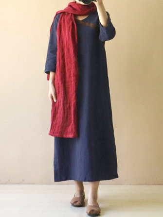 Women Retro Long Sleeve V Neck Kaftan Split Long Maxi Dress