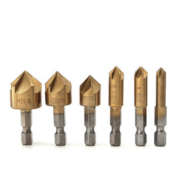 6pcs 5 Flutes 6/8/9/12/16/19mm Countersink Drill Bit Set 1/4 Inch Hex Shank Titanium Coated Chamfer