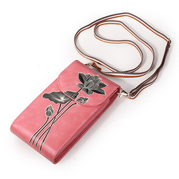 Women Microfiber Hand Painted 6 Card Slot National Phone Bag