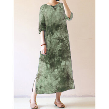 Women Short Sleeve Tie Dye Vintage Maxi Dress