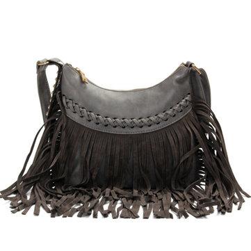 Женщины бахрома прочистки мешки плеча марочные Crossbody сумки случайные сумки посыльного