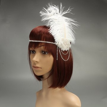 White Flapper Headband Rhinestone Feather Gatsby Hairband