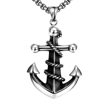 Vintage Stainless Steel Silver Anchor Pendant Necklace for Men