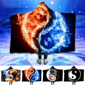 Yin and Yang Bejirog Hooded Blankets Cloak Warm Wearable Plush Thick Nap Soft Mat