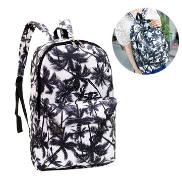 Canvas Coconut Palm Tree Printing Shoulder Rucksack Women Backpack School Travel Bag
