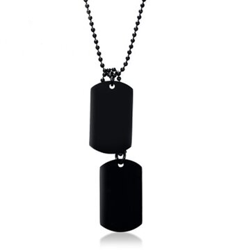 Men Stainless Steel Hangtag Pendant Chain Trendy Black Plating Necklace