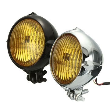 35W 12V Motorcycle Headlight H4 Amber Light Headlamp For Harley Bobber Chopper