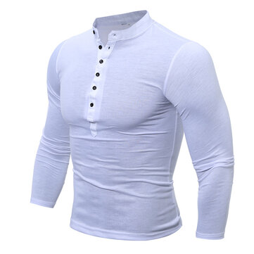 Mens Cotton Stand Collar T-shirts