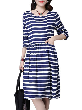 Casual Women Stripe Long Sleeve Loose Waist Dress