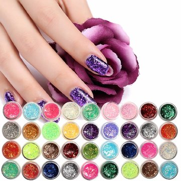 12/24 Colors Glitter UV Nail Polish Shiny Gel Manicure Decoration DIY Nail Art Glue