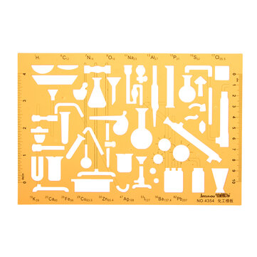 Chemistry Laboratory Experiment Symbols Drawing Template KT Soft Plastic Ruler Design Stencil