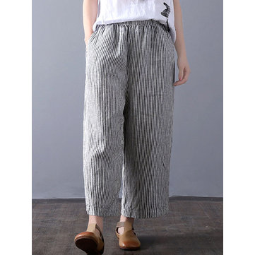 Women Vintage High Waisted Striped Wide Leg Pants