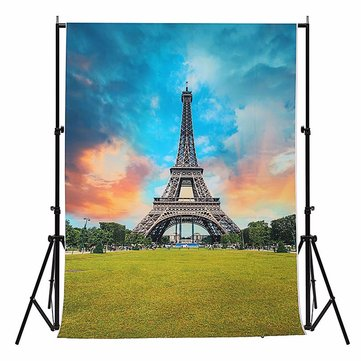 5x7FT Vinyl Eiffel Tower Blue Sky Photography Background Backdrop Studio Prop
