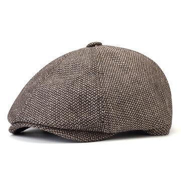 Mens Plus Size Cotton Stripe Beret Hat Gatsby Newsboy Caps