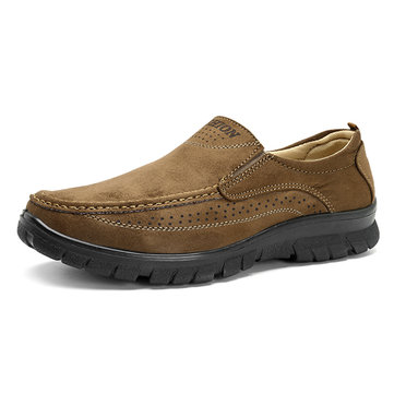 Men Soft Sole Microfiber Leather Slip On Oxfords