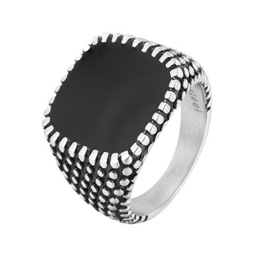 REZEX Retro Drops Ring Polka Dot Square Men Stainless Steel