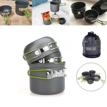 2-3 Person Non-Stick Aluminum Cookware Set Pot Bowl Outdoor Hiking Camping Cooking Picnic Tableware