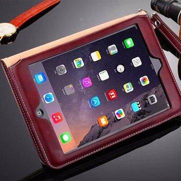 رقيقة جدا جلدية للصدمات حالة الغطاء الكامل مع فتحة بطاقة كيكستاند ل iPad Air 2