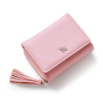 Women Tassel Short Wallets Girls 3 Folded Hasp Purse Card Holder Coin Bags
