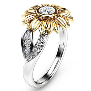 Vintage Zircon Inlaid Gold Sunflower Hollow Leaf Platinum Ring Gift for Her