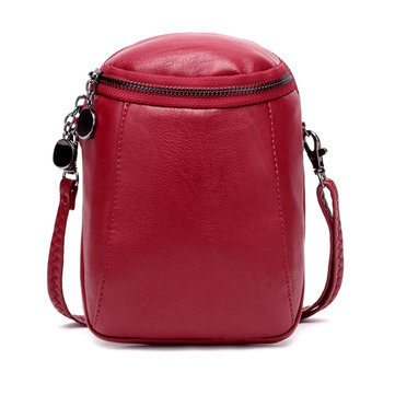 Women Casual Faux Leather Crossbody Bag Bucket Bag Vintage Bag Round Little Phone Bag