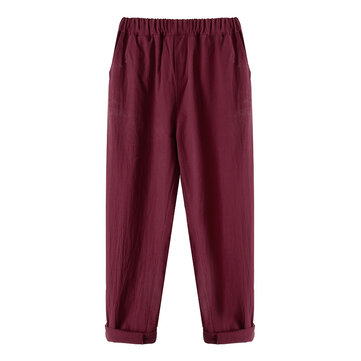 Casual Women Pockets Straight Elastic Waist Harem Pants