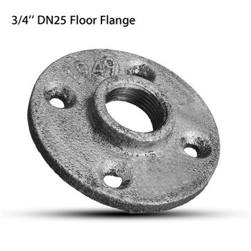 3/4 Inch DN25 Silver Cast Iron Steel Tube Pipe Floor Flange Pipe Fitting Wall Mount