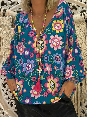 Plus Size Floral Print V-neck Puff Sleeve Blouse for Women