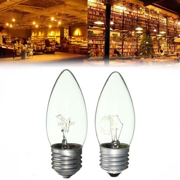E27 25W/40W Warm White Vintage Edison Incandescent Candle Light Lamp Bulb AC220V