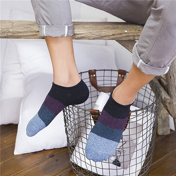 Mens Striped Patchwork Breathable Cotton Boat Socks