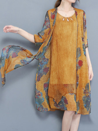 Elegant Two Pieces Set Print Chiffon Dress