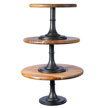 Round Cake Stand Pedestal Dessert Food Display Wedding Party Holder Wood Decorations 3 Sizes