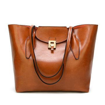 Women PU Vintage Handbag Solid Lock Shoulder Bag Tote Bag