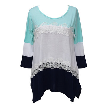 Women Lace Patchwork Three Quarter Sleeve Round Neck T-Shirt