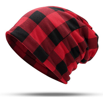 Men Women Plaid Slouchy Beanie Cap Scarf Turban Hat