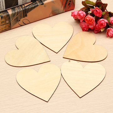 5pcs Wooden Love Heart Shape for Weddings Plaques Art Craft Embellishment