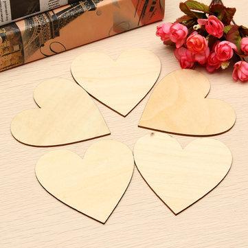 5pcs Wooden Love Heart Shape for Weddings Plaques Art Craft Embellishment