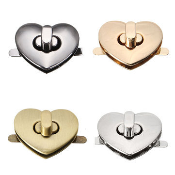 DIY Heart Shape Clasp Turn Twist Metal Lock Buckle for Handbag Bag Purse