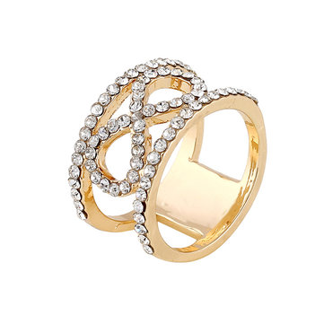 Trendy Alloy Rhinestone Rings Gold Color Infinity Finger Ring for Women