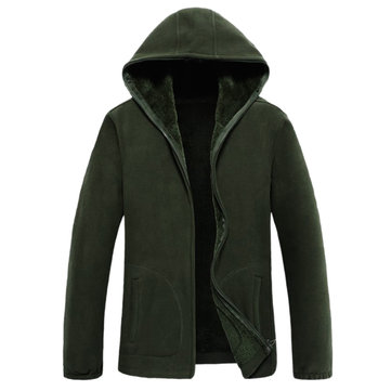 Mens Polar Fleece Thick Warm Sport Outdoor Zip Up Hooded Casual Jacket
