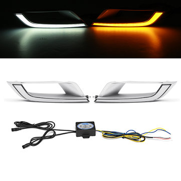 2Pcs LED DRL Daytime Running Lights Lamp Dual Color for Ford Ranger Wildtrak T6 MK2 2016-2018 ET