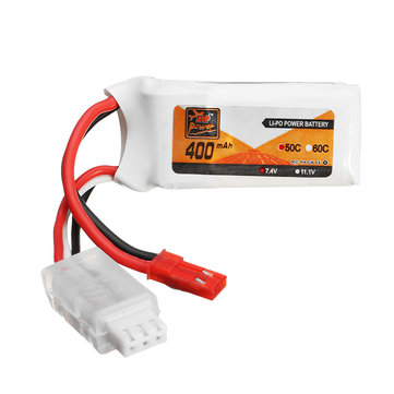 ZOP Power 7.4V 400mAh 2S 50C Lipo Battery JST Plug For Eachine Aurora 68 Fatbee FB90 Racing Drone