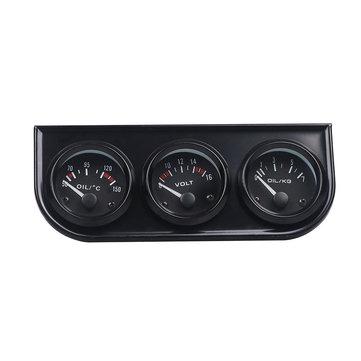 52mm 3 In 1 Car Triple Kit Volt Meter Water Temp Oil Pressure Gauge Tachometer