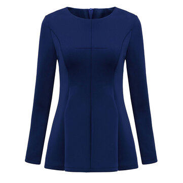 Ruffles Slim Elegant Pure Color Long Sleeve Women Bottom Tunic Blouse