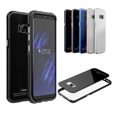 Luphie Metal Bumper 9H Tempered Glass Back Shell For Samsung S8 Plus