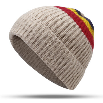 Men Women Vintage Stripe Earmuffs Knit Beanie Hat